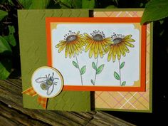 Black Eyed-Susan Joy Fold Card by - Cards and Paper Crafts at Splitcoaststampers Joy Fold Card, Origami Shapes, Sunflower Cards, Bee Cards, Weird Shapes, 2 Step, Black Eyed Susan, Friendship Cards, Card Envelopes