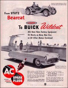 1953 AC Spark Plugs Original Vintage Print Ad Stutz Bearcat Buick Wildcat