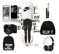 """black & white swag clothing"" by fashion-010 on Polyvore featuring Topshop, URBAN ZEN, NIKE, adidas, Beats by Dr. Dre and MAC Cosmetics"