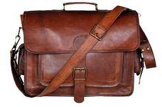 Men's Vintage Genuine Brown Leather Laptop Messenger Bag Shoulder Briefcase #Handmadecraft #MessengerShoulderLaptopBag