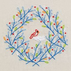 Hand embroidery //  tweet wreath // Pattern and Kit from Penguin & Fish