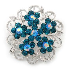 Teal Crystal Filigree Floral Brooch In Rhodium Plating - 43mm Diameter - main view