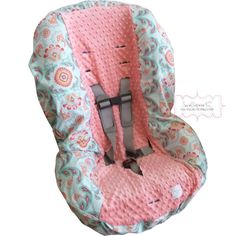 Avignon Main with Coral Toddler Carseat Cover by sewcuteinaz