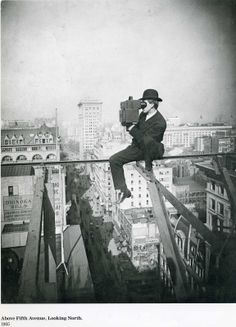 All in a day's work for this photographer (above Fifth Avenue - 1905)