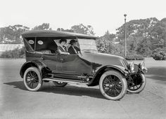 """https://flic.kr/p/rG1gsA   Filles de Franklin, 1920   Couple of unusually good-looking babes out cruising in a neat car. I wonder if Dad knows where they are.  """"Franklin touring car at Golden Gate Park Conservatory."""" The air-cooled Franklin's styling hallmark was a radiatorless hood that was said to resemble a coal scuttle. 5x7 glass negative by Christopher Helin. San Francisco, 1920."""