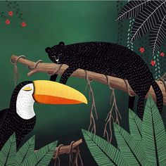 Have been travelling the past few weeks and left my little panther cat Baghera back home so here's one I made for her #illustration #illustratorsoninstagram #junglebook #jungle #toucan #panthers #blackpanther #catlovers #art #artwork #artprint #kidlit #illustrationjeunesse #baghera #blackcat #instadraw #graphicdesign #artpromote #talentedpeopleinc #childrensillustration #book #illustrator #kidlitartist #naptime #animaldrawing by tat05