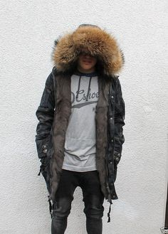 Parka Herren Pelzmantel men fur coat Куртка Мужчины moro schwarz M   eBay  Pelz, 3ec14214c1