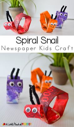 Spiral Snail Newspaper Kids Craft: An easy craft for kids to paint and create Easy Arts And Crafts, Crafts For Kids To Make, Arts And Crafts Projects, Kids Crafts, Craft Kids, Preschool Crafts, Snail Craft, Bug Crafts, Nature Crafts