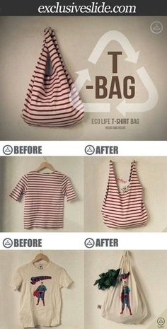 How To Make a No Sew T-Shirt Tote Bag in 10 Minutes Would be interesting to do with some of my sorority shirts :)