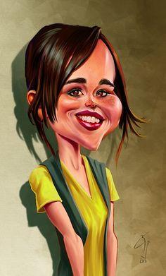 Ellen Page by bogdancovaciu - actriz canadiense. Fue nominada a los premios Oscar y Globo de Oro en la categoría de mejor actriz por su actuación en Juno.