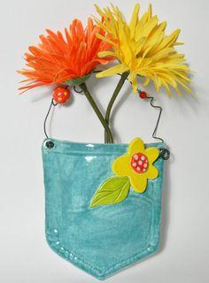 Ceramic Blue Jean PocketWall Pocket by maydog on Etsy....Janet Burns