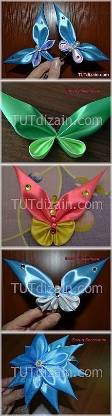 Discover thousands of images about DIY Ribbon Crafts : DIY Easy Ribbon Butterfly Ribbon Art, Diy Ribbon, Fabric Ribbon, Ribbon Crafts, Ribbon Bows, Fabric Crafts, Ribbon Flower, Ribbons, Handmade Flowers