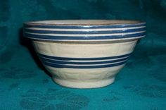 "Small 3"" Tall Antique Blue Stripes Embossed Yellow Ware Bowl"