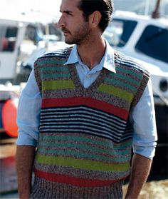 Knit this mens striped vest designed exclusively for Knitrowan by Martin Storey. Using the wonderful combination of Purelife Revive (silk, cotton and viscose) and Wool Cotton (wool and cotton), this v neck top has an all over stripe sequence pattern with stripes of different widths | English Yarns