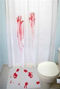 halloween shower curtain and bath mat -- ya this is totally what we should do