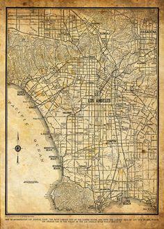 1944 Los Angeles City Street Map Vintage 13x19 Sepia Grunge Print Poster via Etsy.