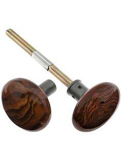Pair of Bennington Style Rim Lock Knobs With Antique Iron Shanks | House of Antique Hardware