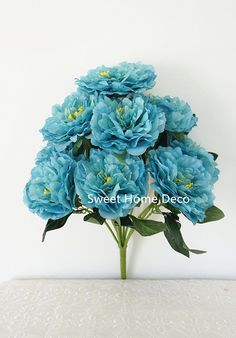 Sweet Home Deco 17'' Blooming Silk Peony Bush 9 Flower Heads Ribbon Feeling Super Soft (Turquoise) ** More info could be found at the image url.