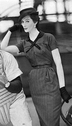 Dovima at a baseball game in 1952 by 50'sfan, via Flickr