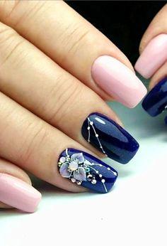 Cute Nail Art Designs, Simple Nail Designs, Acrylic Nails, Gel Nails, Manicures, Coffin Nails, Gel Nagel Design, Nail Effects, New Nail Art