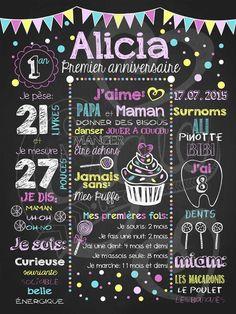 Affiche personnalisée 1er anniversaire Par ici les sucreries (rose) | 28,00$ #chalkboard