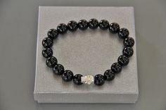 """bracelet homme skull perles noires tourmaline """"BLACK IS BLACK """" : Bijoux pour hommes par made-with-love-in-aiacciu"""