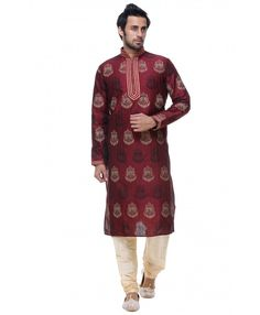 Maroon Kurta with golden pajama. Threading work look awesome. Specially for every occasion. #fashion #men #india