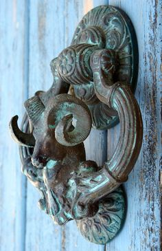Antique Large Ram Door Knocker French Victorian Aries Bronze