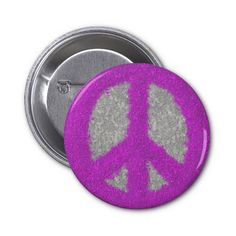 Fuchsia Splat Painted Peace Sign Button.  $2.95