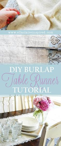 Easy and gorgeous burlap table runner tutorial! Looks exactly like the Pottery Barn version but at a fraction of the cost! Easy and gorgeous burlap table runner tutorial! Looks exactly like the Pottery Barn version but at a fraction of the cost! Burlap Projects, Burlap Crafts, Fabric Crafts, Sewing Crafts, Diy And Crafts, Craft Projects, Sewing Projects, Arts And Crafts, Craft Ideas