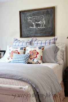 Savvy Southern Style: blue ticking stripe duvet and shams - $39 for the set from Ikea