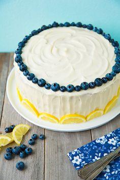 citrónovo-borůvkový dort