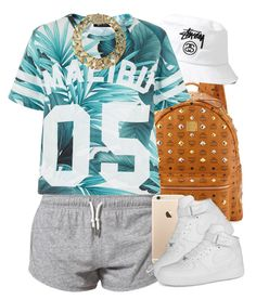 """""""Malibu."""" by livelifefreelyy ❤ liked on Polyvore featuring MCM, Stussy, NIKE and AllSaints"""