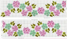 Cross-stitch Floral Border... no color chart, just use pattern chart colors as your guide.. or choose your own colors... ... ENCANTOS EM PONTO CRUZ: Flores