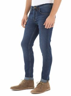 A damn fine pair of jeans even if we say so ourselves. The perfect item to see you from day to night during party season - just swap your sweatshirt for a blazer and oxford shirt, job done. Check out our men's jeans now - especially these mid wash stretch skinny jeans - before it's too late!