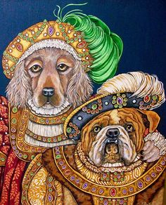 Annie and Hank Painting by Sherry Dole - Annie and Hank Fine Art Prints and Posters for Sale Anthro Cat, Dog Artwork, Colorful Animals, Costume, Dog Paintings, Animal Heads, Animals Images, Pet Portraits, Animals Beautiful