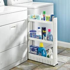 order on amazon, for more pantry space! Slim Slide Out Cart --- Put that extra sliver of space to work. Load it up with laundry supplies, paper products or extra pantry supplies. This Slim Slide Out Cart fits in just a sliver of space, but gives you three shelves of organized storage space.