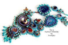 TN-009 - He is Faithful - Unique one of a kind bead embroidered necklace