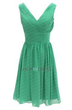 A-line V-neck Knee Length Chiffon Green Bridesmaid Dress with Ruffles NPD2099  $89.99 in fuchsia