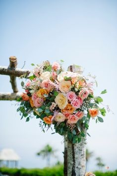 Bright and beautiful ceremony flowers.