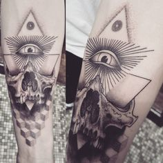 Skull tattoo by Alex M Krofchak. Geometry. All seeing eye. illuminati. Dotshaded. Dotshading. Blackwork.