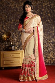 Andaaz Fashion new arrival chikoo Crepe Jacquard Saree with Art Silk Blouse and Designer Pallu. Embellished with Resham, Stone, Zari work with price  $115.63  http://www.andaazfashion.us/chikoo-crepe-jacquard-saree-with-art-silk-blouse-dmv7940.html