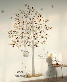 Tree with birds and cage- Vinyl Wall Decal Sticker Art for living room, bedroom. $65.00, via Etsy.