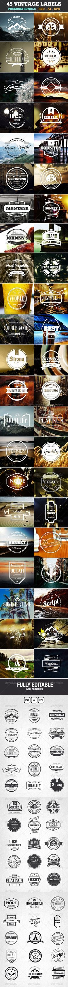 45 Retro Vintage Labels and Badges that you can use on Logos with emblem style, on beer labels, restaurants, coffee shops, bar and other places. Also you can use them on modern labels with a touch of Vintage style for your Website, Business, Stickers, T-shirt, Retro Labels and more.: