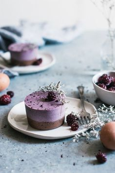 Speckled Brownie Bottomed Blackberry Mousse Cakes - The Kitchen McCabe