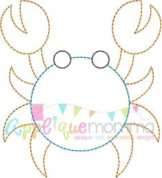 Crab 4 Vintage Embroidery Design