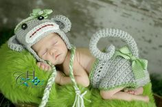 Sock Monkey Hat & Diaper Cover Set by touchOwhimsy on Etsy, $45.00
