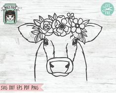 Flower On Head, Flower Crowns, Rabbit Silhouette, Silhouette Design, Cow Tattoo, Cactus Vector, Cow Head, Cow Face, Easy Drawings