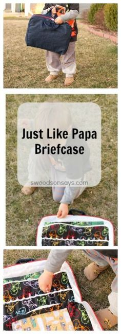 Just Like Papa Briefcase - a fun toy to sew for the kids in your life! Swoodsonsays.com