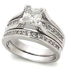 1.25 Carats CZ Rhodium Plated Engagement Wedding Ring Set Size (5),